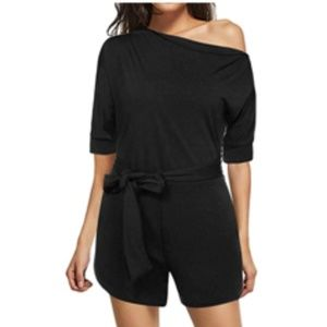 Pants - Off Shoulder Black Romper